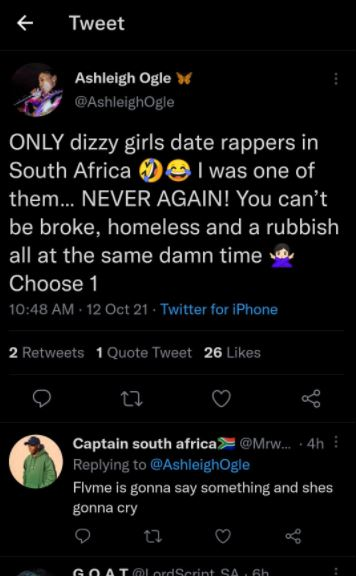 Only dizzy girls date SA rappers, says Flvme ex Ashleigh