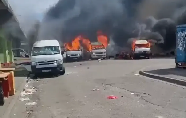 Watch  Chaos In Gqeberha As Several Taxis Set Alight Allegedly By Somalians-SurgeZirc SA